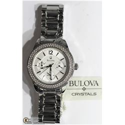 30) BULOVA STAINLESS STEEL WOMEN'S CRYSTAL WATCH