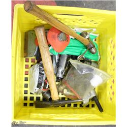 BIN OF AUTOBODY TOOLS - BOTH AIR & MANUAL
