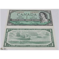 1954 CANADIAN $1.00 REPLACEMENT BANK NOTES X2