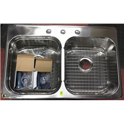 NEW STAINLESS STEEL 19 GAUGE DOUBLE WELL SINK WITH
