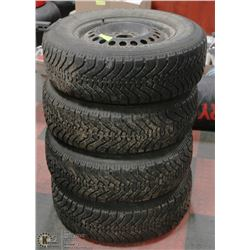 4 GOODYEAR NORDIC WINTER TIRES ON STEEL RIMS