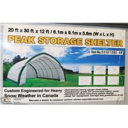 20FT X 30FT X 12 FT PEAK CEILING STORAGE SHELTER