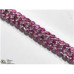 32) STERLING SILVER RUBY MARQUISE BRACELET