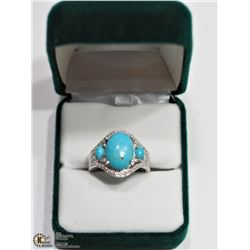 34) STERLING SILVER 3 TURQUOISE RING