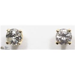 35) 14K YELLOW GOLD DIAMOND SOLITAIRE EARRINGS