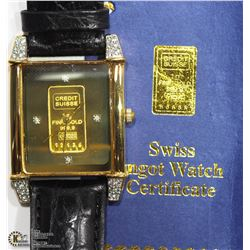 39) CREDIT SUISSE 999.9 FINE GOLD 1G INGOT WATCH