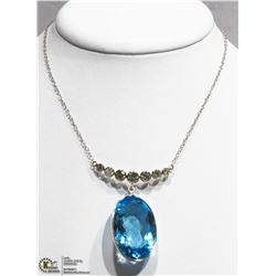 40) 10K WHITE GOLD BLUE TOPAZ & 7 DIAMOND NECKLACE