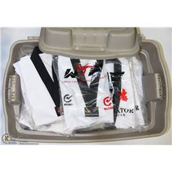 TOTE OF 10  ASSORTED SIZE MARTIAL ARTS UNIFORMS