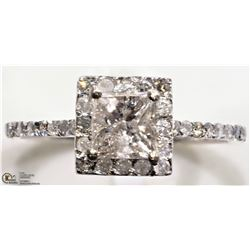 41) 14K WHITE GOLD 41 DIAMOND SQUARE HALO RING