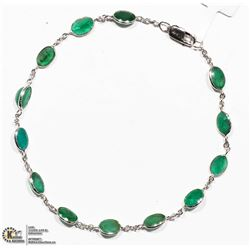 49) 10K WHITE GOLD 13 EMERALD BRACELET