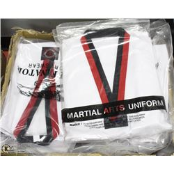 LARGE BOX OF 27 MARTIAL ARTS UNIFORMS