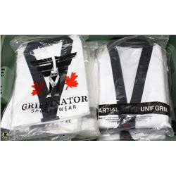TOTE OF 14 MARTIAL ARTS UNIFORMS SIZE 7/210