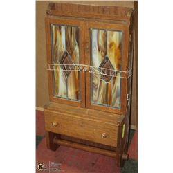 VINTAGE OAK STAINED GLASS SPICE RACK
