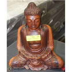 "SOLID WOOD CARVED BUDDHA - 12 1/2""-TALL -"