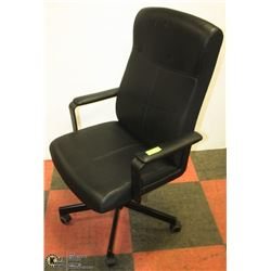 BLACK LEATHER OFFICE CHAIR, HIGH BACK,