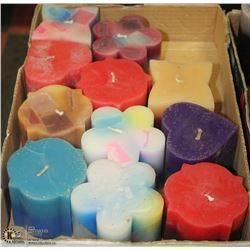 LOT OF 11 LARGE VERY COLORFUL CANDLES SCENTED