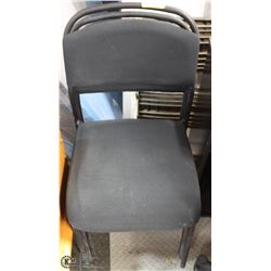 LOT OF 3 BLACK CLOTH SEAT & BACK STACKING CHAIRS