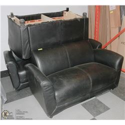 2 BLACK LEATHER LOVESEATS WITH COUCH