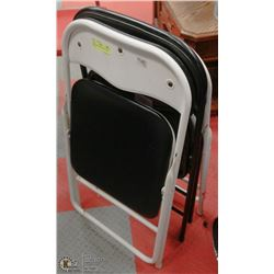 PAIR OF WHITE & BLACK FOLDING CHAIRS