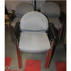 LOT OF 16 GREY PADDED ARM CHAIRS