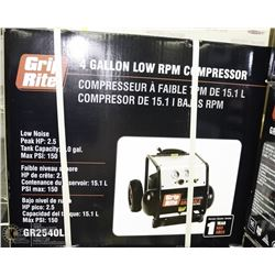GRIP RITE 4 GALLON AIR COMPRESSOR LOW RPM