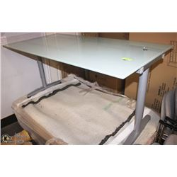 FROSTED GLASS IKEA TABLES/DESK WITH ADJUSTABLE
