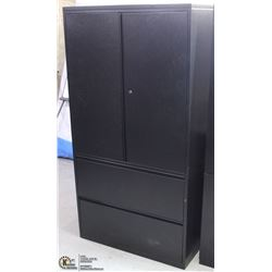 BLACK METAL 2 DOOR/2 DRAWER FILE CABINET