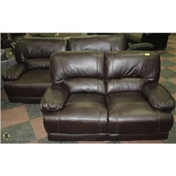 "NEW ANDERSON WINE LEATHERETTE RECLINING 84""SOFA"
