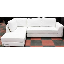 WHITE LEATHERETTE CHAISE LOUNGE SECTIONAL