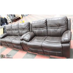 "NEW DEXTER BROWN LEATHERETTE RECLINING 80"" SOFA &"