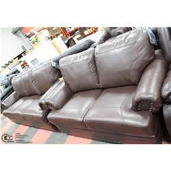 "NEW BROWN LEATHERETTE 85""SOFA & 65"" LOVESEAT"