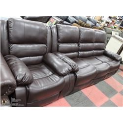 "NEW MARTIN BROWN LEATHERETTE 83"" SOFA WITH CHAIR"