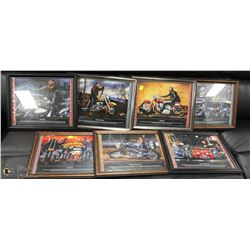 COLLECTION OF 7 FRAMED MOTORCYCLE PICTURES