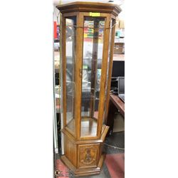 HALF OCTAGON SHAPED AGAINST WALL  CURIO CABINET
