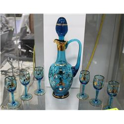 VINTAGE COBALT BLUE GLASS W/ GOLD TRIM DECANTER