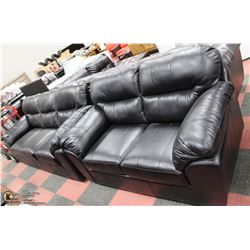 "NEW BLACK LEATHERETTE 80"" SOFA WITH 65"" LOVESEAT"