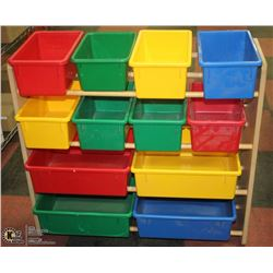 KIDS ORGANIZER WITH COLOURED BINS