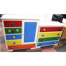 2 SOLID WOOD CHILDS DRESSERS WITH COLORED