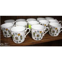 13PC ROYAL ALBERT PARAGON CANADA COAT OF ARMS MUGS