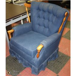 BLUE AND WOOD TRIM VINTAGE ARM CHAIR