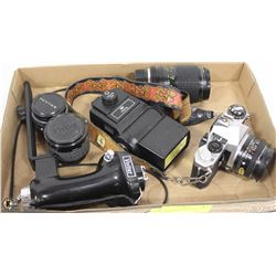 PENTAX ME SUPER CAMERA WITH 3 LENSES,