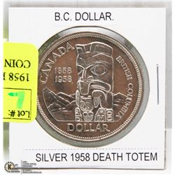 1958 DEATH TOTEM SILVER DOLLAR COIN