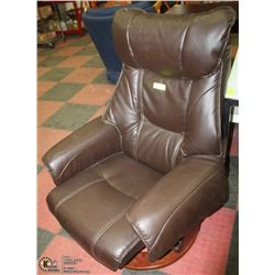 LEATHER CHAIR WITH WOOD BASE