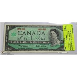 UNCIRCULATED CANADIAN CENTENNIAL $1 DOLLAR BILL