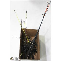 BOX OF ICE FISHING RODS & REELS