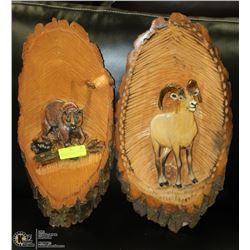 2PC CHAINSAW WOOD ART WALL HANGINGS - MOUNTAIN