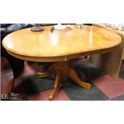 OAK PEDESTAL TABLE W/ CARVED TRIM & LEAF