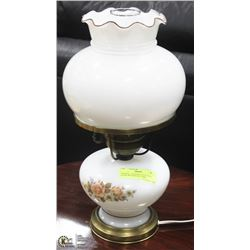 VINTAGE LANTERN STYLE MILK GLASS WITH MOTIF LAMP,