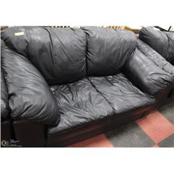 BLACK LEATHER COUCH, LOVESEAT AND CHAIR SET