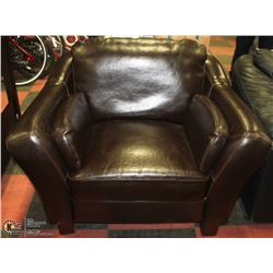 BROWN LEATHER SIDE CHAIR 45""